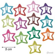 Metal Star-shaped Snap Hair Clips Assorted Colors