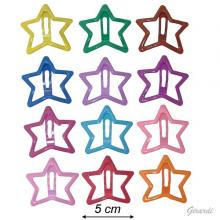 Metal Star-shaped Snap Hair Clips Enameled Colors