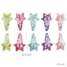 Metal Star-shaped Snap Hair Clips Assorted Floral Colors