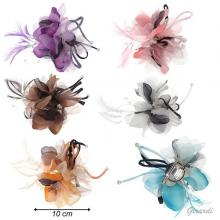 Hair Decoration - Crocodile Clip And Pin With Tulle Flower And Feathers