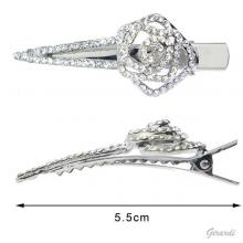 Metal Crocodile Clip With Strass Flower