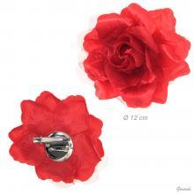Becco Fermacapelli Con Fiore Tessuto Rosso