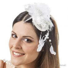 Hair Decoration Skullcap With Fabric, Pearls And Feathers