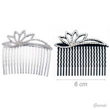 Metal Hair Comb With Strass Flower