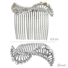 Bridal Metal Hair Comb With White And Borealis Strass