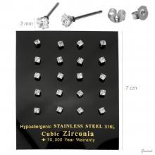 Steel And Zircon Earrings 10pairs 3mm Display
