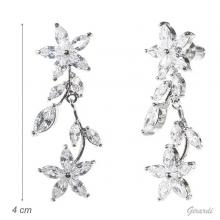 White Zirconia Flower Earrings