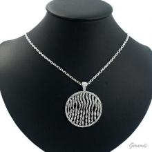 Metal Necklace With Strass Circle Pendant