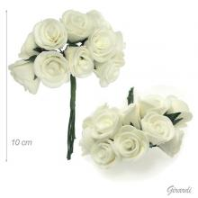 Hair Decoration With 10 Flowers In Cream Colored Fabric