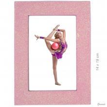2 - Cornice portafoto glitterata 14 x 19cm rosa