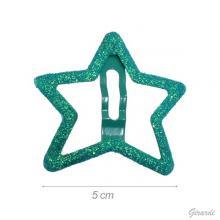 12 - Clic-clac stella metallo glitterato verde acqua