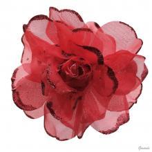 2 - Becco fiore di tulle con glitter - rosso